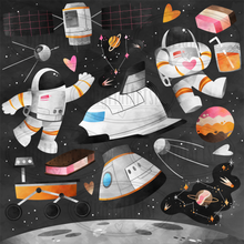 Astronaut Ice Cream Party Graphics Set