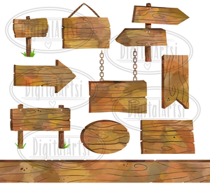 Wooden Sign Graphics Set