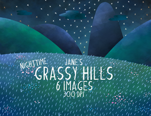 Grassy Field Night Sky Graphics Set