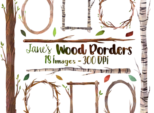 Wooden Frames Graphics Set