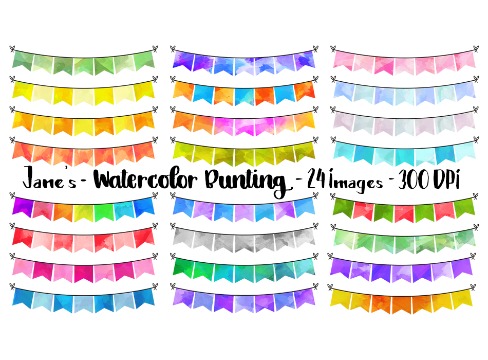 Square Bunting Graphics Set