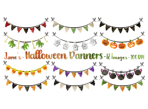 Halloween Bunting Graphics Set