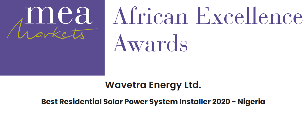 Wavetra Energy LTD won the MEA Markets 2020 award for Best Residential Solar Power Systen Installer in Nigeria