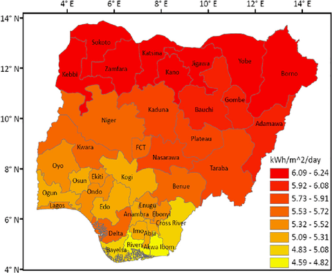 Solar irradiation in Nigeria
