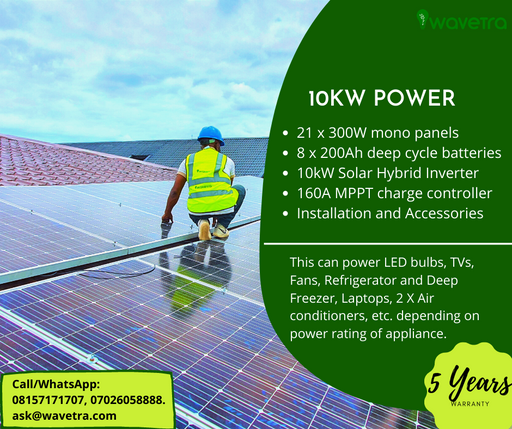 10kW Solar power system plan plus installation