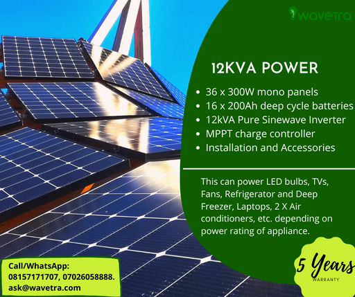 12kVA Solar power system plan plus installation in Nigeria