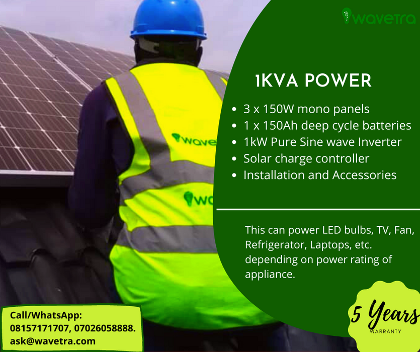1.5kVA Solar power system plan plus installation