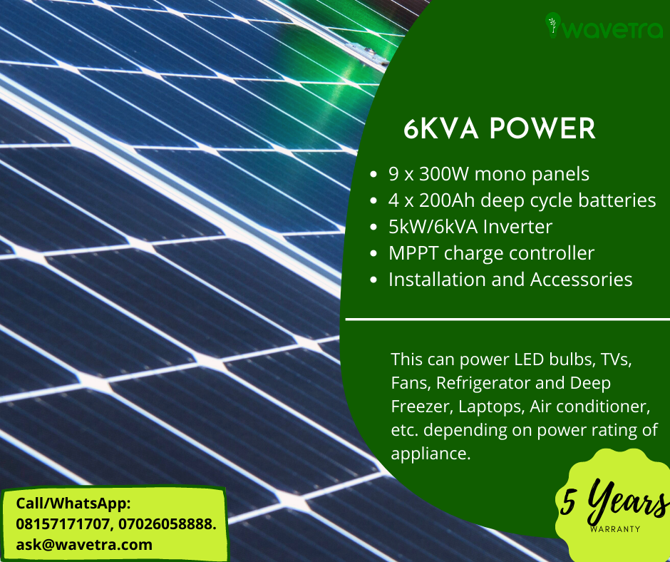 6kVA Solar power system plan plus installation