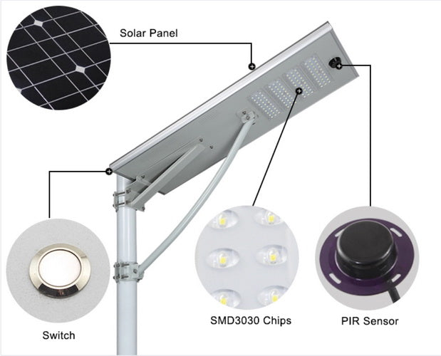 90W Integrated All In One Solar LED Street Light With Panel & Battery LED and Torchlight Wavetra Energy