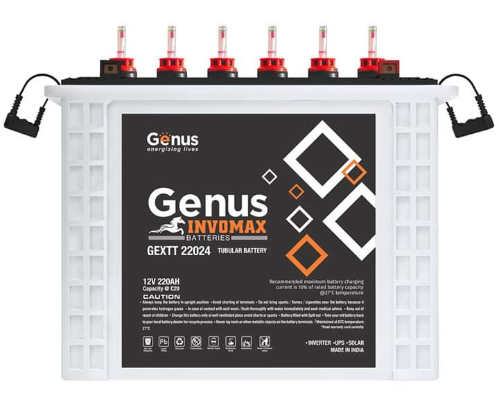 Genus Invomax Tubular Battery 220 Ah 12V
