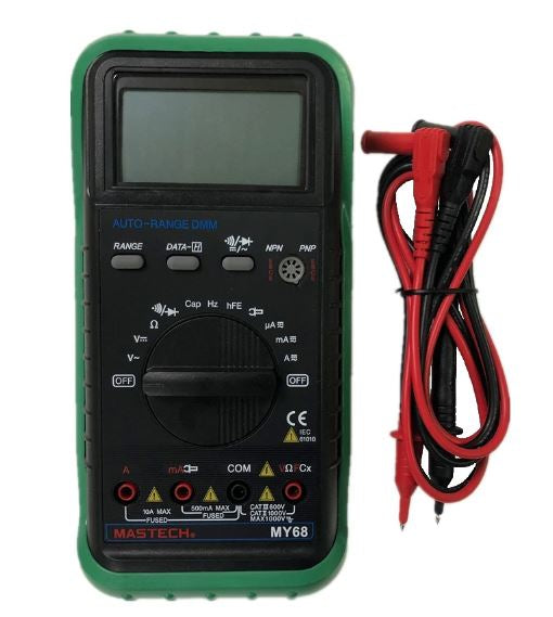 MASTECH MY68 Handheld Auto Range Digital Multimeter DMM w/Capacitance Frequency & hFE Test Meter Testers