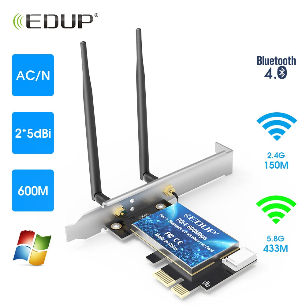 EDUP WiFi Adapter Wireless Bluetooth Adapter Dual Band AC600 PCI-E Network Card  Wavetra Energy