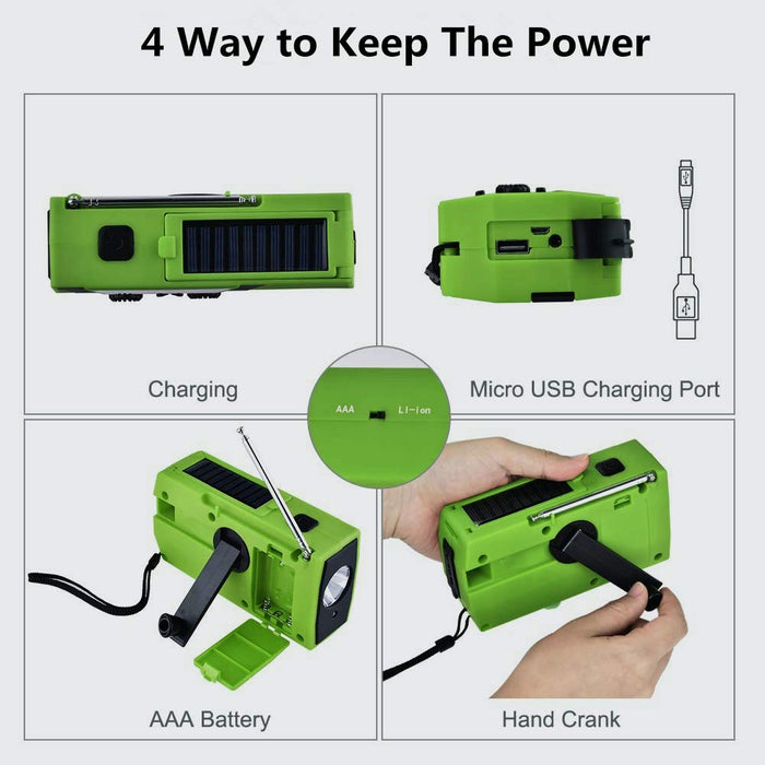 Emergency Solar Hand Crank Radio Portable AM/FM Weather Radio Outdoor Household LED Flashlight 2000mAh Power Bank USB Charger  Wavetra Energy
