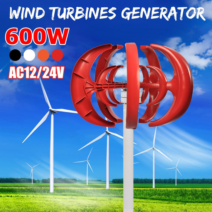 Max 600W AC 12V 24V Wind Turbine Generator Lantern 5 Blades Motor Kit Vertical Axis For Home Hybrid Streetlight Use  Wavetra Energy
