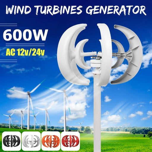 Max 600W AC 12V Wind Turbine Generator Lantern 5 Blades Motor Kit Vertical Axis Wind turbine Wavetra Energy