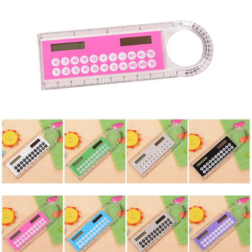 Solar Mini Calculator Magnifier Multifunction 10cm Ultra-thin Ruler Accessories Wavetra Energy