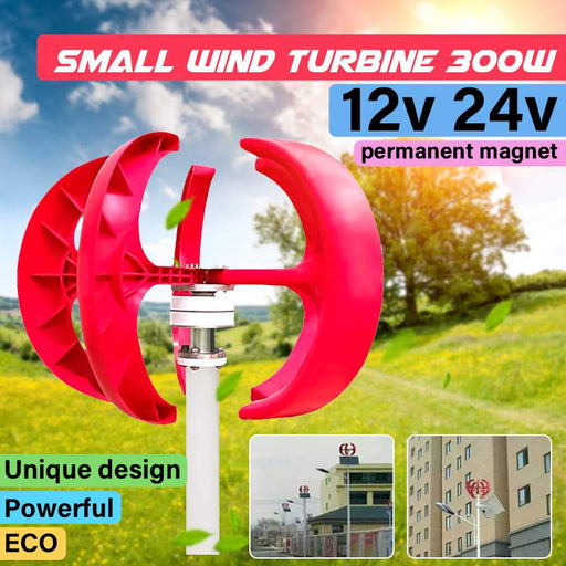 Wavetra Wind Turbine 300W 12V/24V Lantern 5 Blades Motor Kit Vertical Axis 3 Phase AC Permanent Magnet Generator
