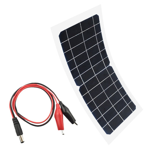 Flexible 5V 6V 10W portable solar panel Charger Car Automobile Motorcycle Boat panels solar cell DC Alligator clips Connector Solar Panel Wavetra Energy