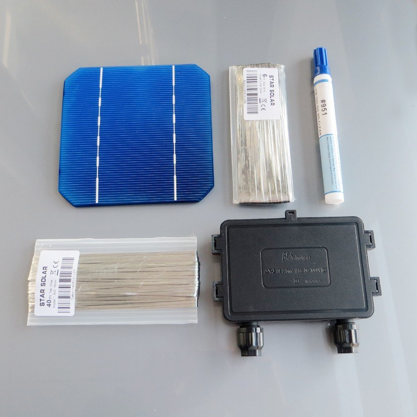 165W DIY Solar Panel Kit 6x10 125 Monocrystalline 150W 165Watt Mono solar cell tab wire Bus wire Flux pen Junction Box WY Solar Panel Wavetra Energy