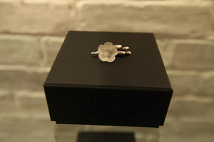Freesia blossom pendant with crystal in silver