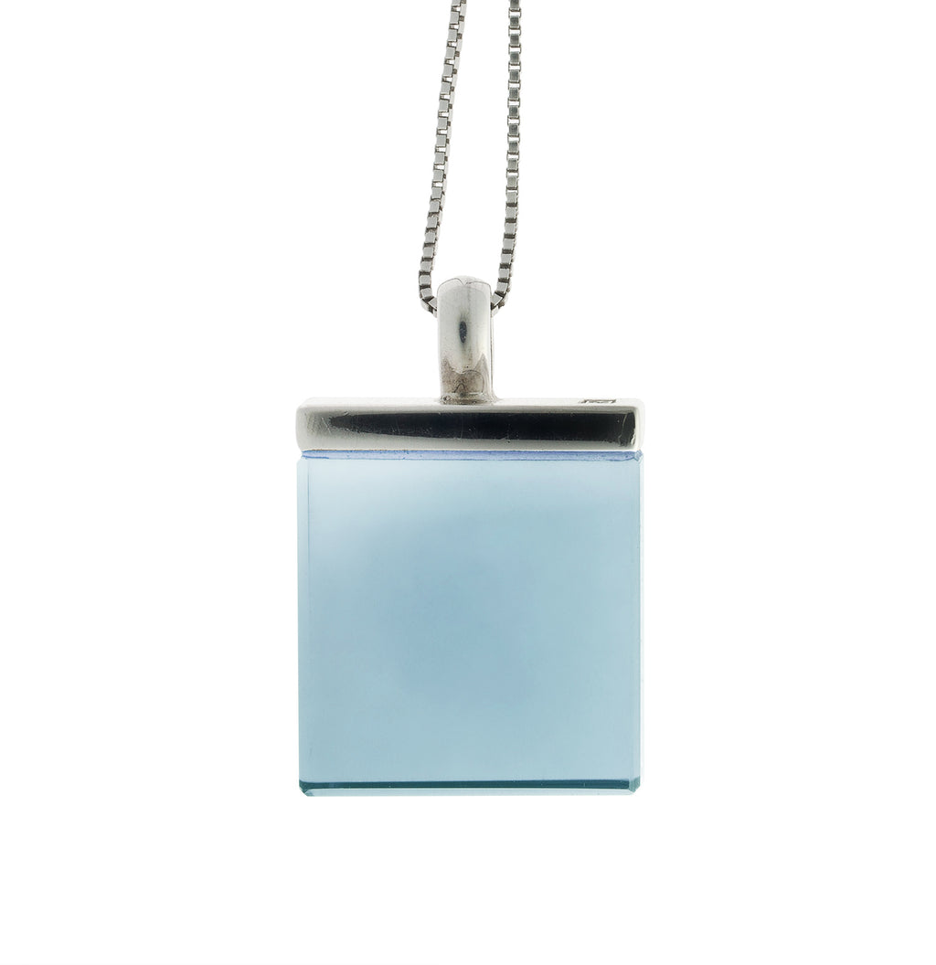 Art Deco Sterling Silver Pendant Necklace with Sky Blue Chalcedony