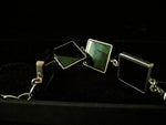 White Gold Art Deco Bracelet with Dark Green Quartzes, Featured in Vogue