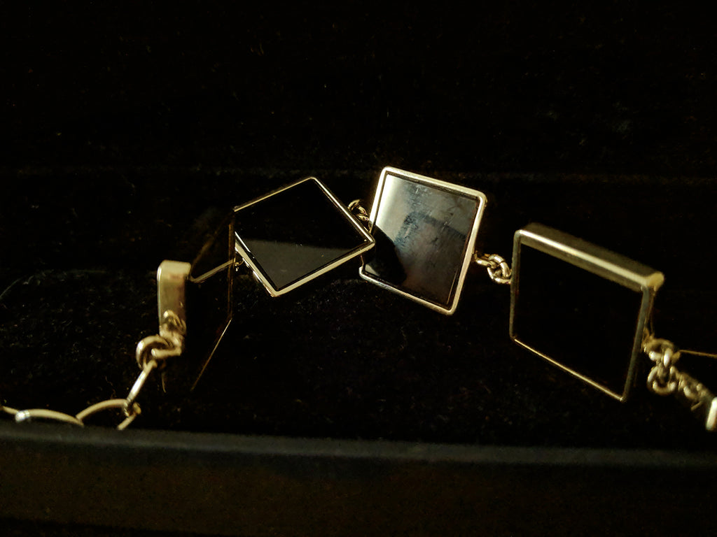 Gold Plated Silver Art Deco Link Bracelet by the Artist with Dark Smoky Quartzes
