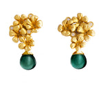 Yellow Gold Plum Flowers Clip-On Earrings by The Artist with Diamonds and Chalcedonies
