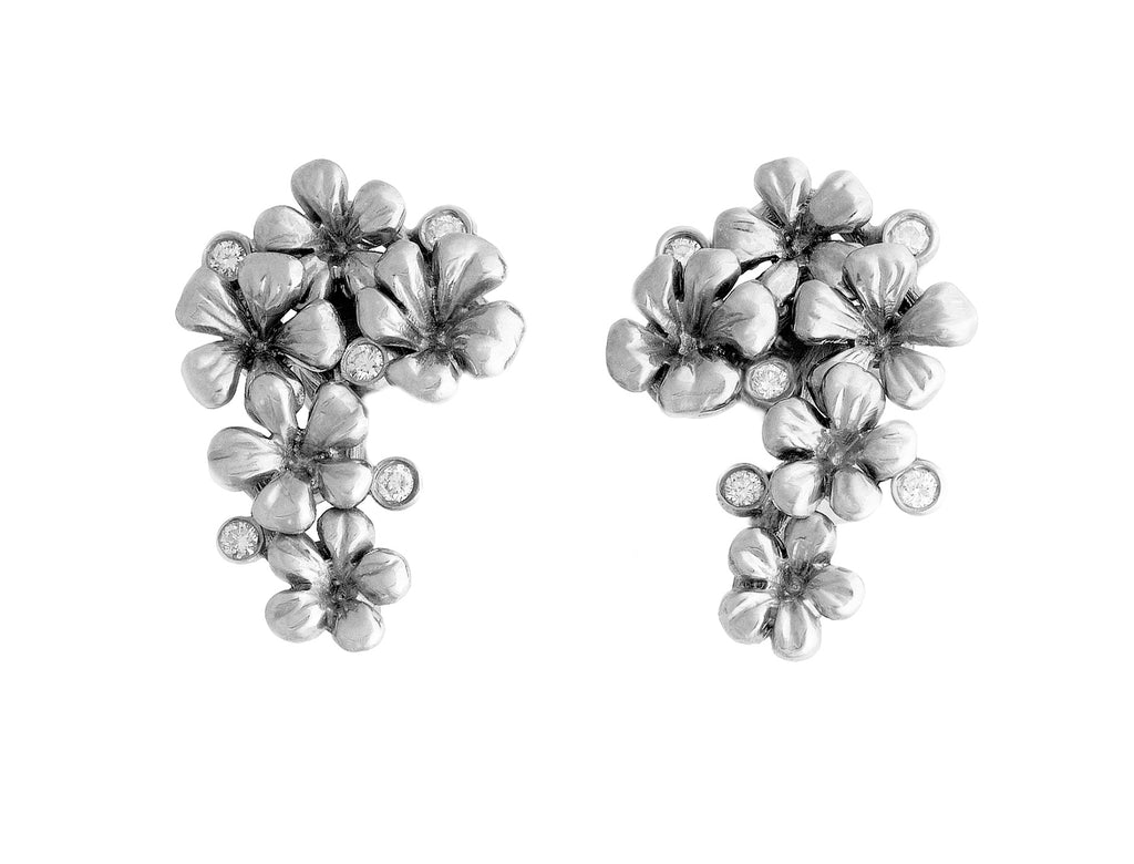 Plum Blossom white gold plated earrings with 10 diamonds (0.3 Carat)