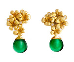 18 Karat Gold Modern Transformer Earrings with Diamonds and Emeralds
