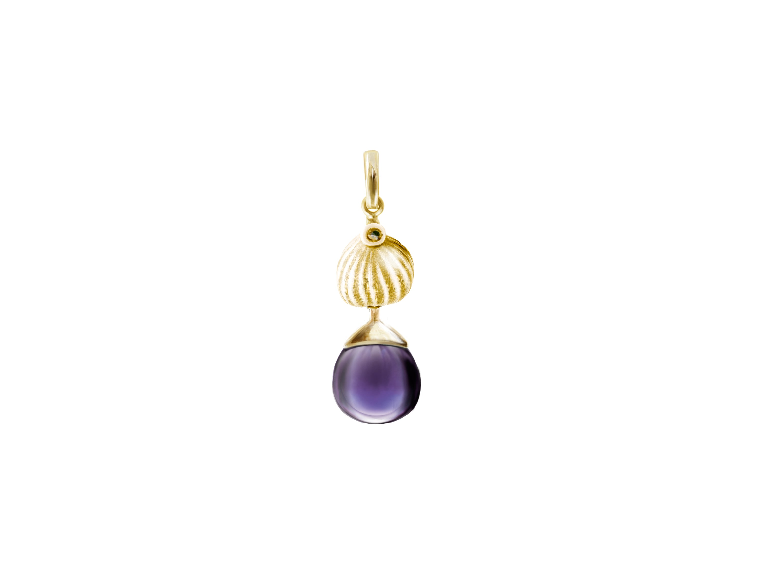 18 Karat Yellow Gold Fig Necklace Pendant with Amethyst by the Artist