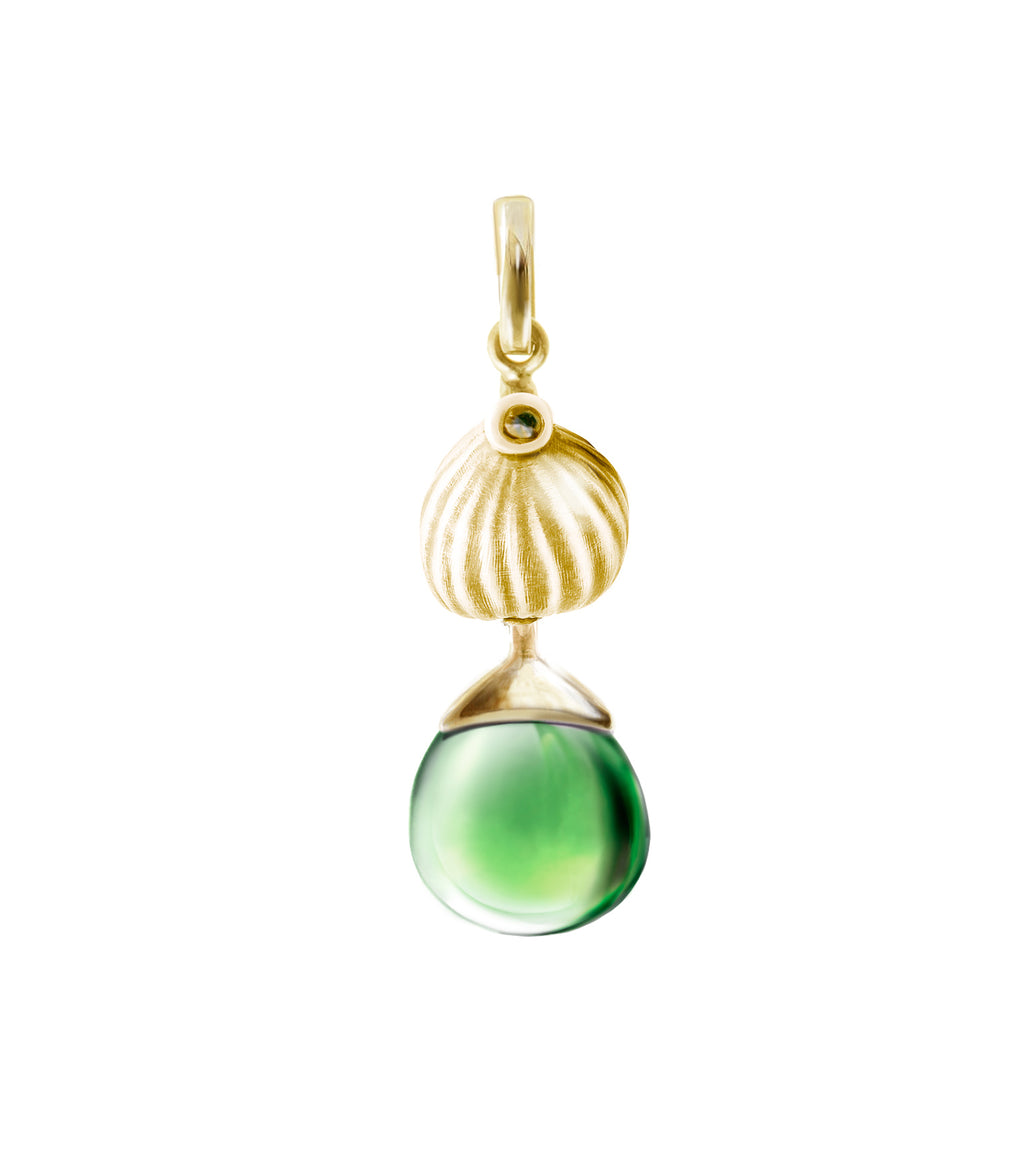 Fig pendant with peridot in 18 KT yellow gold