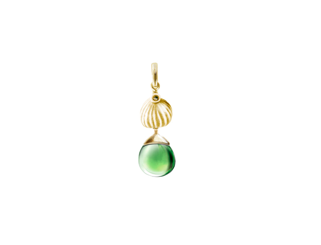 Fig pendant with green rock crystal in 18 KT yellow gold