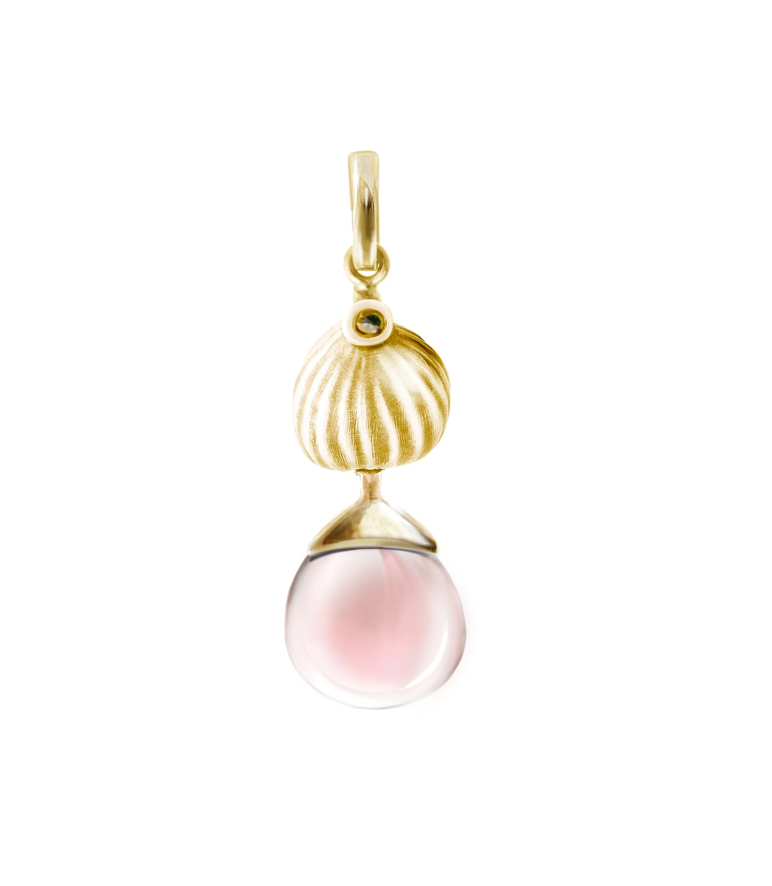 Fig pendant with rose quartz in 18 KT yellow gold