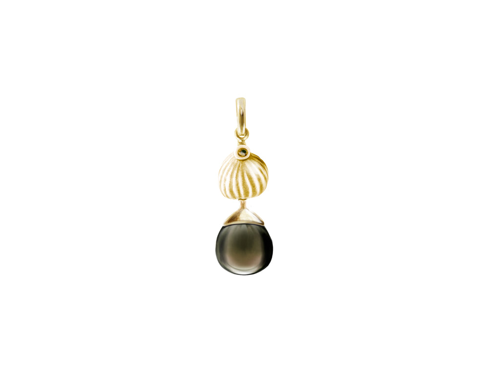 18 Karat Yellow Gold Fig Necklace Pendant with Smoky Quartz by the Artist
