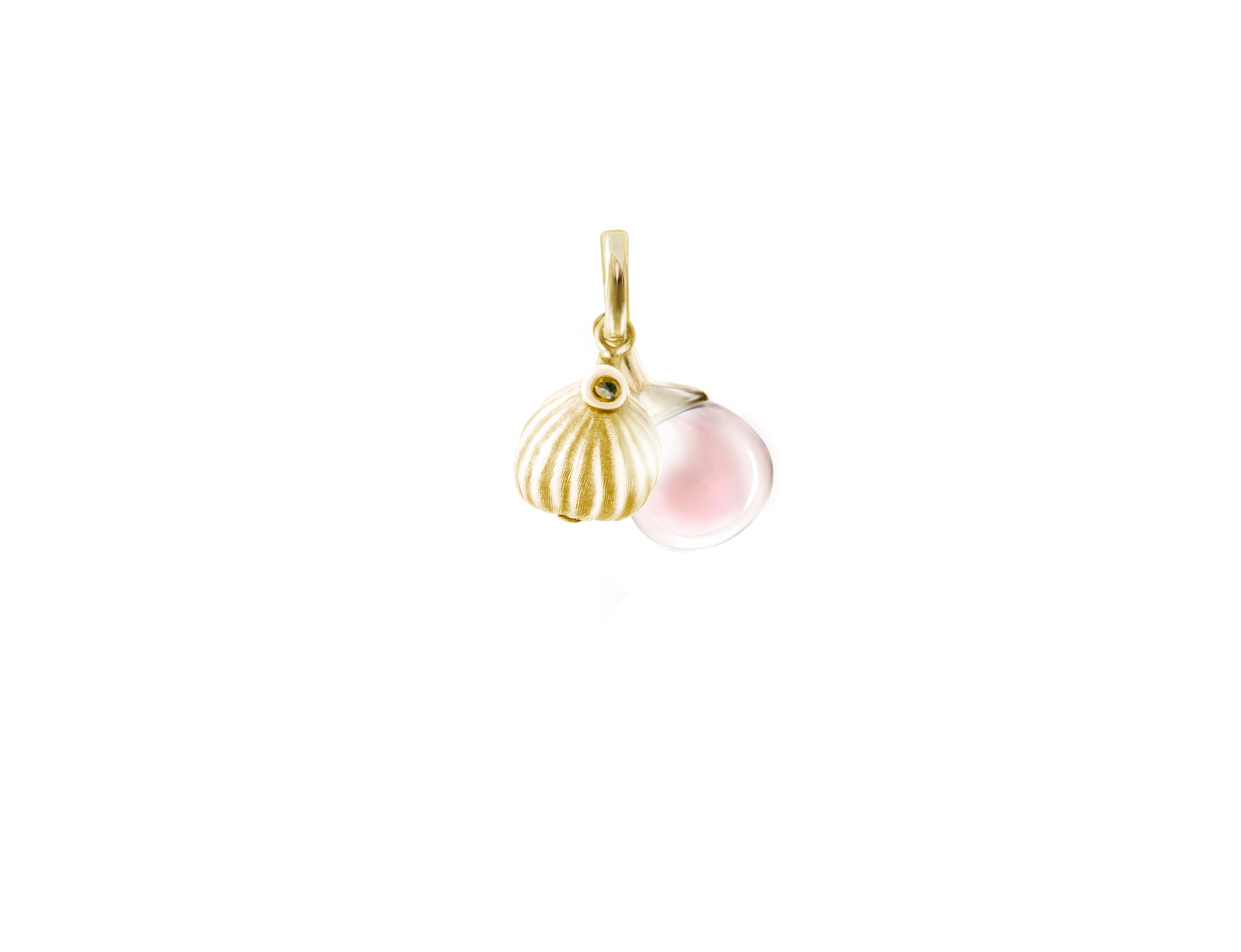 Fig pendant with candy rose quartz in 18 KT yellow gold