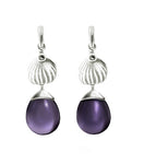 18 Kt White Gold Fig Cocktail Earrings with Amethysts and Diamonds by the Artist