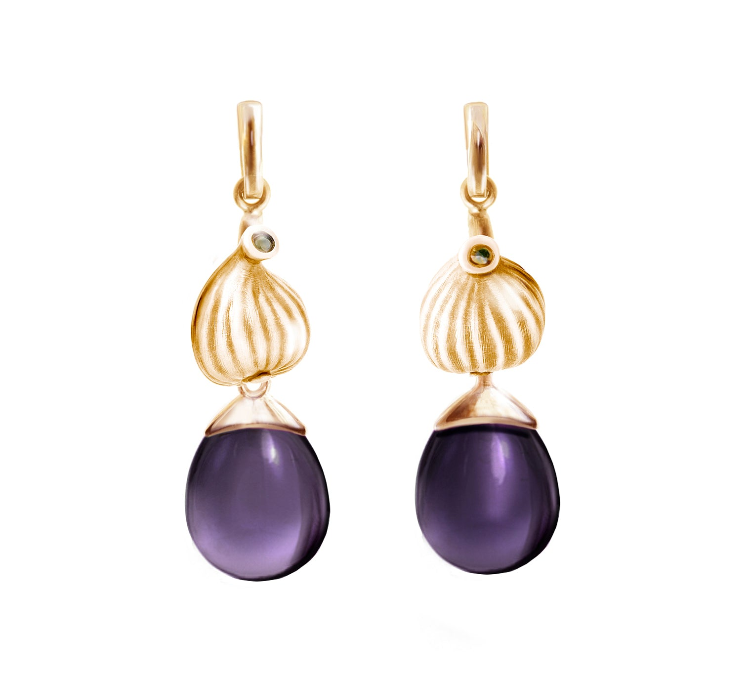 18 Kt Rose Gold Fig Cocktail Earrings with Amethysts and Diamonds by the Artist