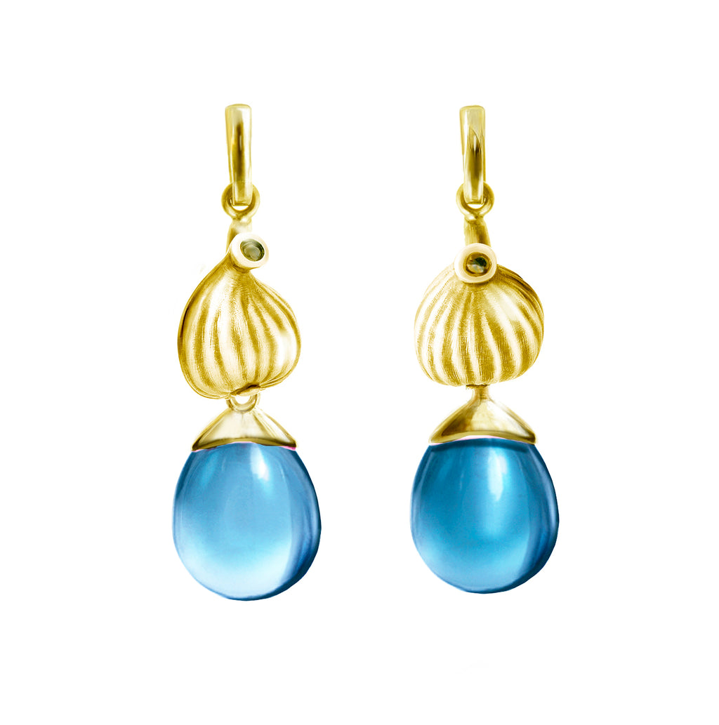 18 Karat Gold Fig Artist Cocktail Earrings with Topazes, Featured in Vogue