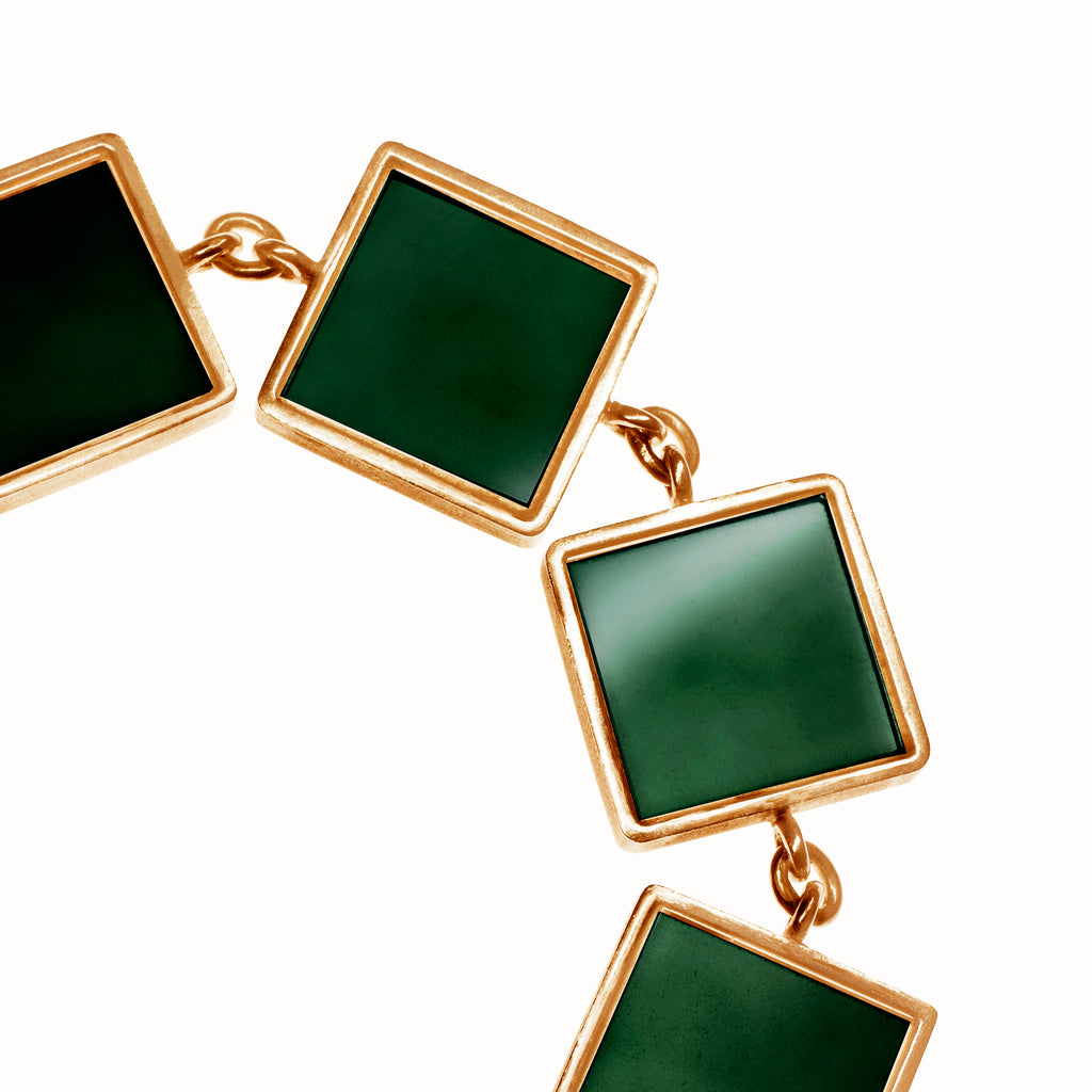 14 Karat Rose Gold Art Deco Bracelet with Dark Green Quartzes, Featured in Vogue