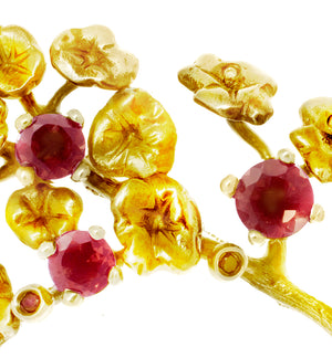 18 Karat Yellow Gold Heliotrope Brooch by the Artist with Rubies and Diamonds