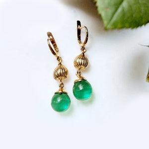 Yellow Gold Contemporary Fig Earrings with Green Quartz or Peridot