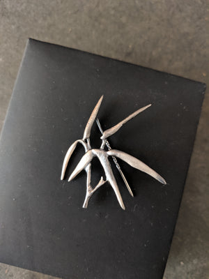 Bamboo Brooch in Silver N1 by the Artist