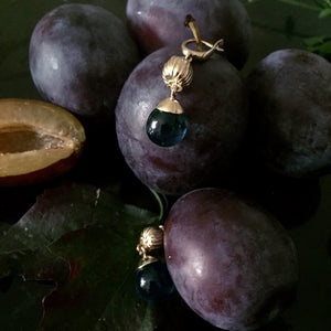 Yellow Gold Fig Fruits Cocktail Earrings with Topazes by the Artist