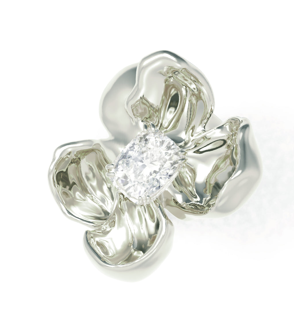White Gold Cocktail Ring with SGCU Certified 0.62 Carat Diamond
