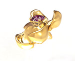 18 Karat Yellow Gold Contemporary Magnolia Brooch with Berry Spinel