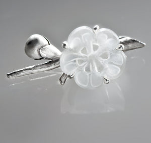 Sakura Contemporary Earrings by the Artist in Silver with Quartz Flowers