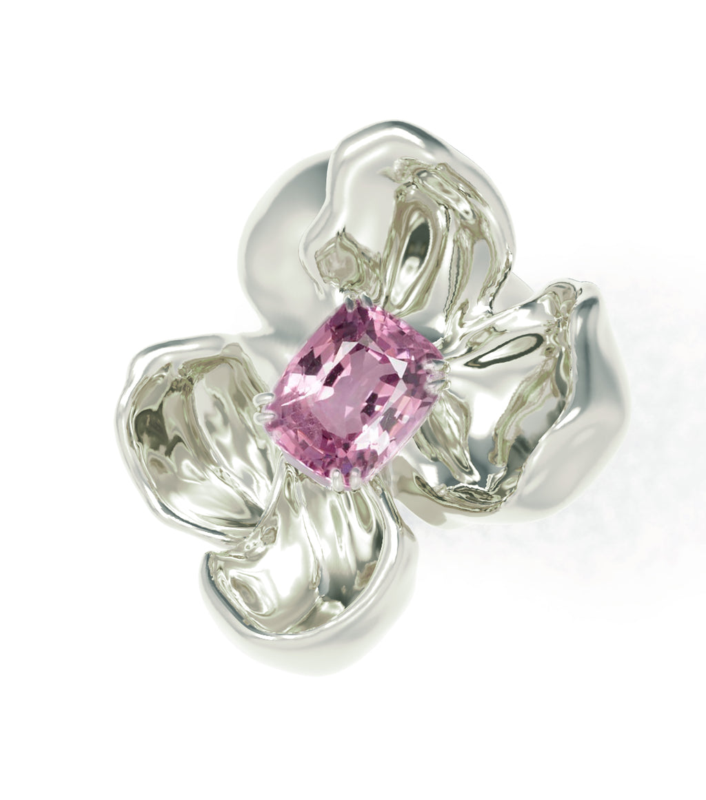 18 Karat White Gold Contemporary Cocktail Ring with Light Purple Spinel