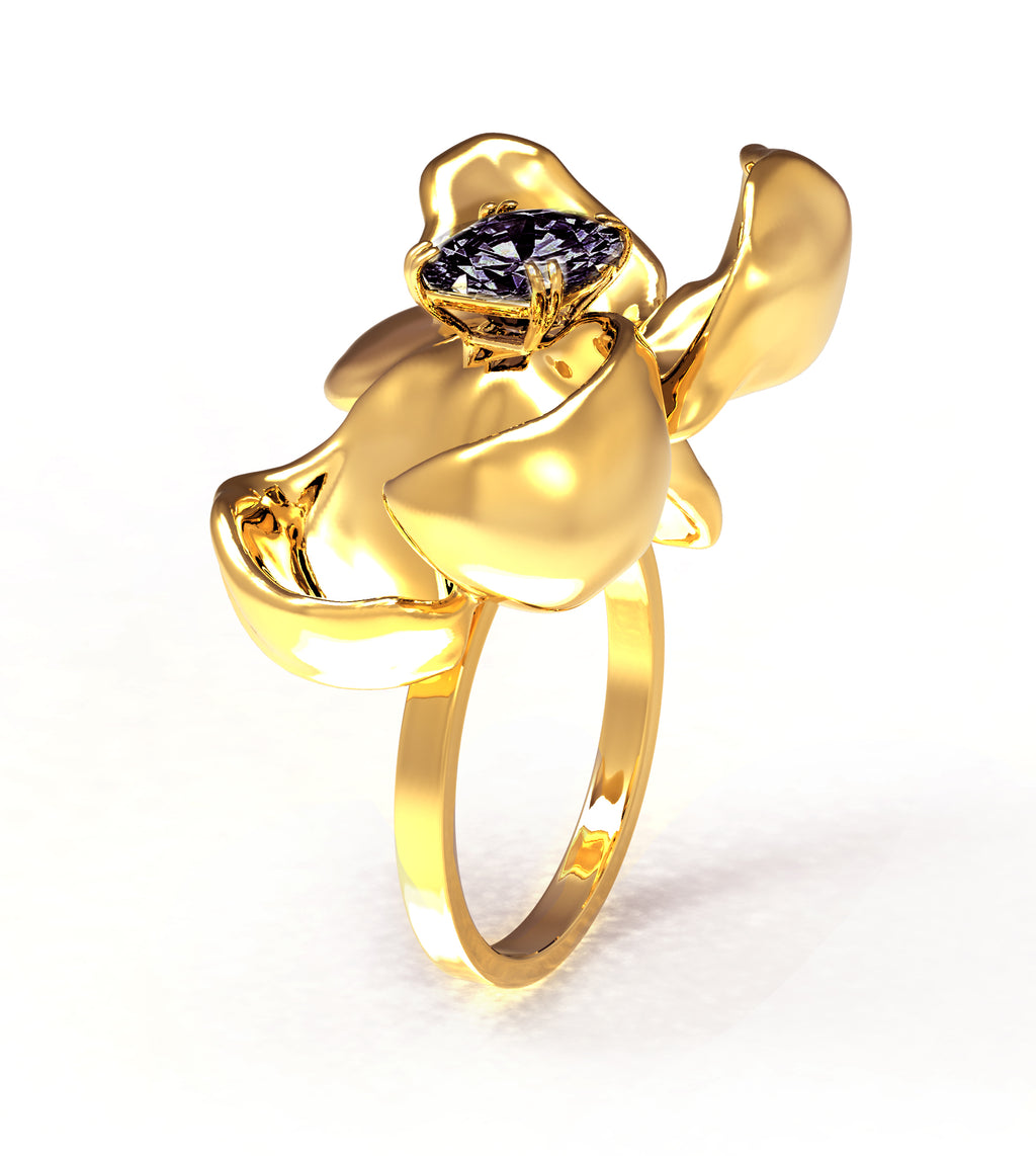 18 Karat Yellow Gold Contemporary Cocktail Ring with Ink Storm Purple Titan Spinel