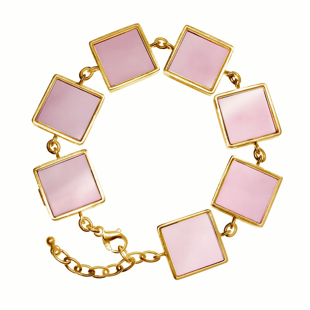 14 Karat Yellow Gold Contemporary Bracelet with Rose Quartzes